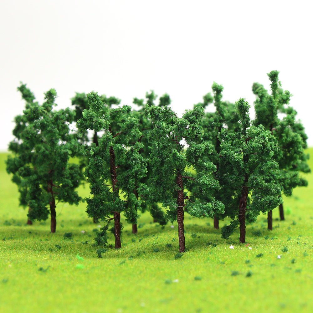 D5020 50PCS Model Trees-50mm/1 96 inch Z HO Scale Train Layout Iron Wire  Trees,Diorama Supplies, Railroad Scenery, Fake Trees for Projects, Woodland