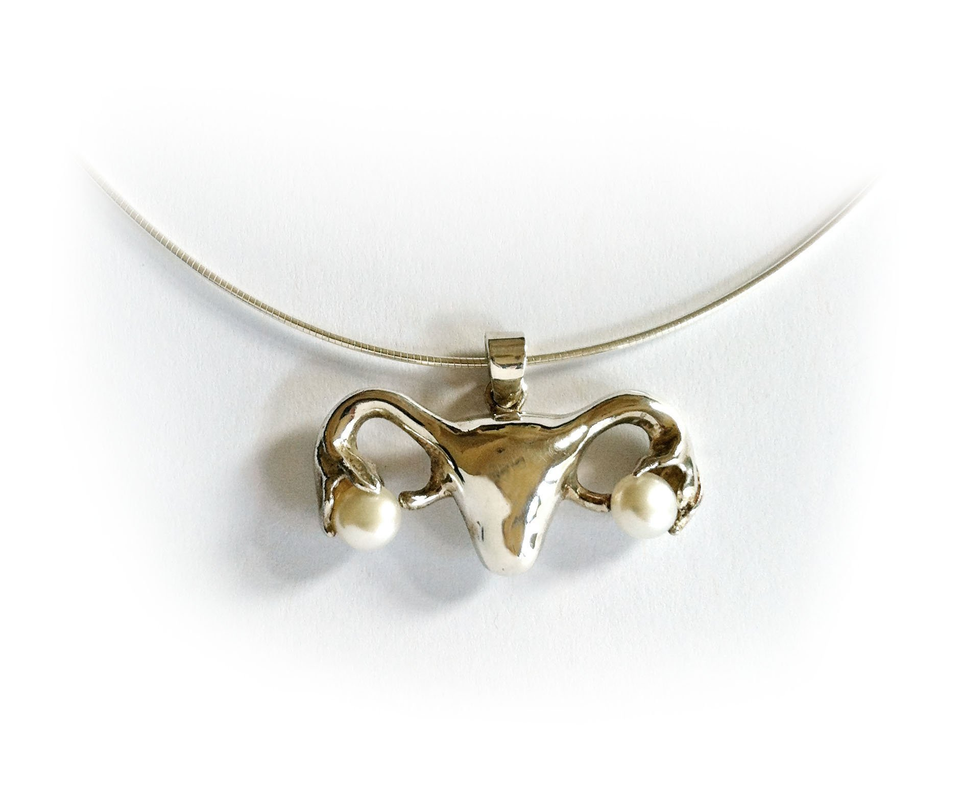 Uterus Necklace in Silver and Pearls