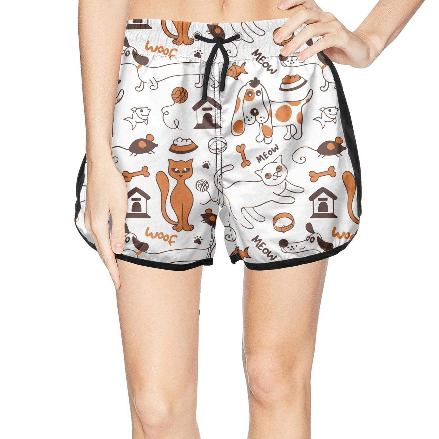 XULANG Womens Cats and Dogs Meow woof Beach Shorts Swim Swimsuits Funny Boardshorts