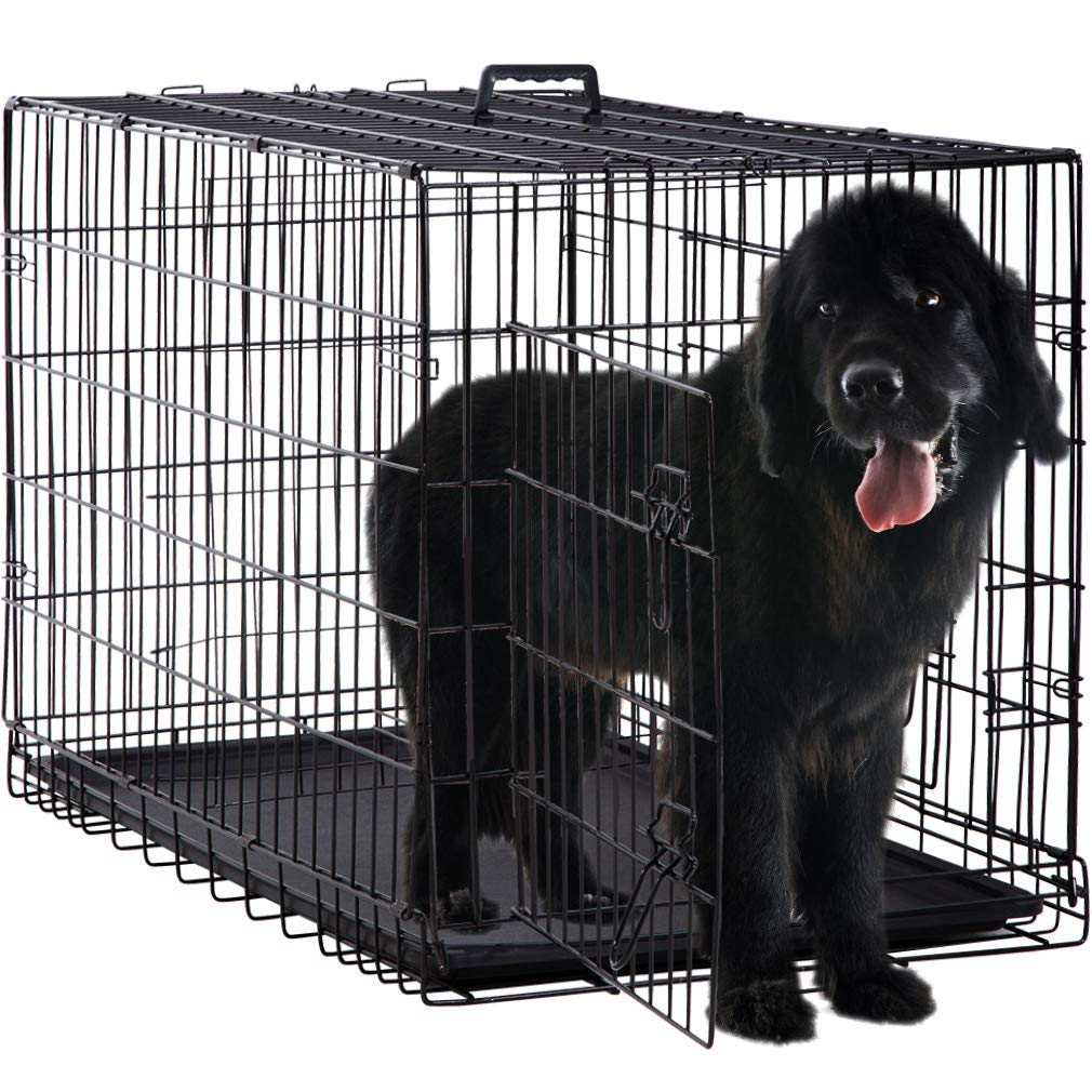 Large Dog Crate Kennel for Medium Large Dogs Metal Dog Cage Double-door Folding Travel Indoor Outdoor Puppy Playpen with Divider and Handle Plastic Tray,42 inches by BestPet