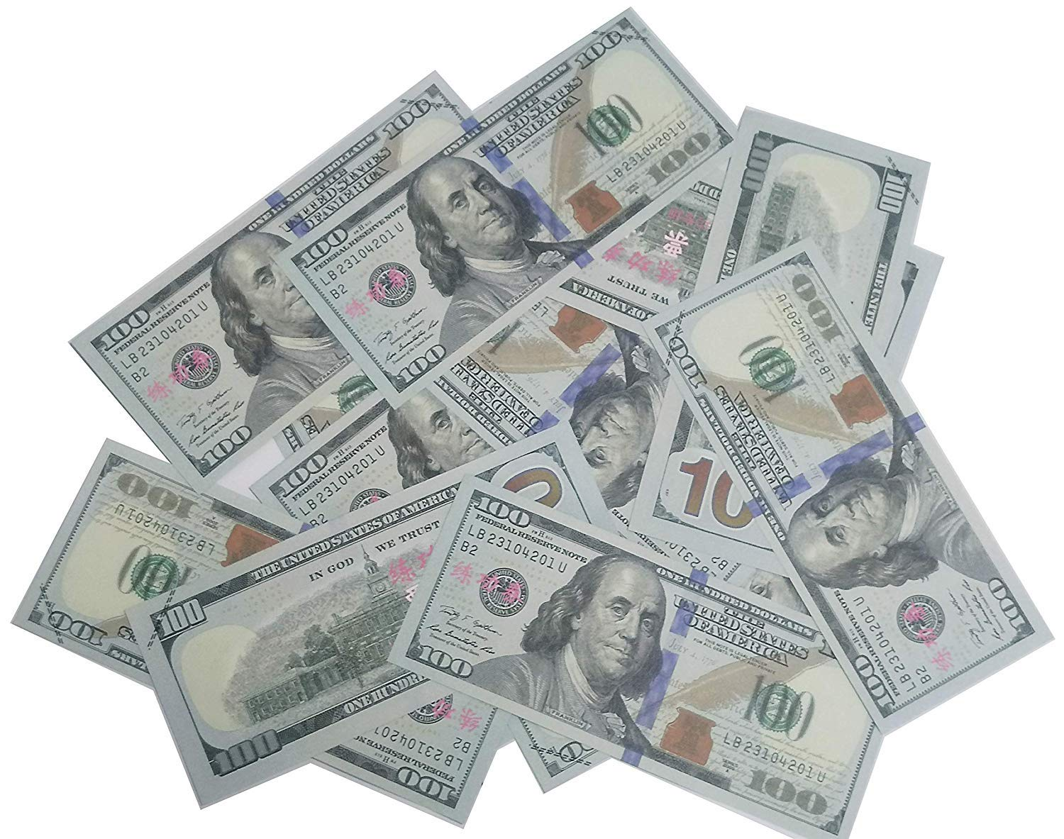 Video Party with Realistic Copy Money Stacks PROPIN Prop Money Motion Picture Money 100pcs $100 Bills 2-Side Printed Play Money Great for Movie TV
