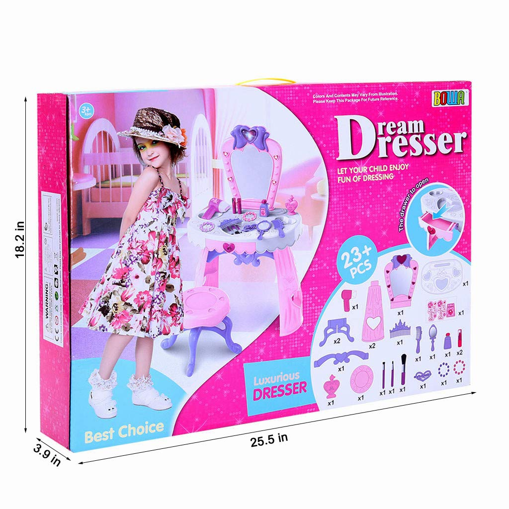 Vanity Beauty Dresser Table for Girls, 23 pcs Fashion & Makeup Accessories with Hand Mirror, Hair Dryer, Brush, Comb for Children 1-3 Years Old (Pink) by Bieay (Image #5)
