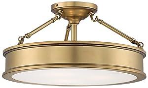 Minka Lavery Semi Flush Mount Ceiling Light 4177-249, Harbour Point Glass Lighting Fixture, 3 Light, Liberty Gold
