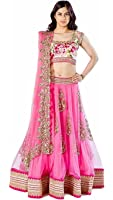 Aarvicouture Women's Brocade & Net Silk Long Cholis Lehenga Choli (Heavy_Pink_Multi-Coloured_Free Size)