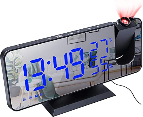 Sleep Timer Projection Alarm Clock Radio with FM Radio USB Port for Charging Digital Projection Alarm Clock with Temperature Display Dual Alarms Snooze