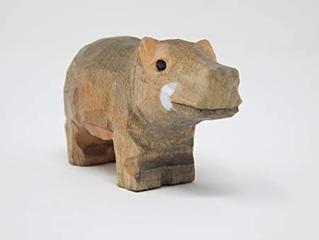 Hippo Small Wood Figurine Pygmy Hippopotamus Africa River Horse Carved Mini