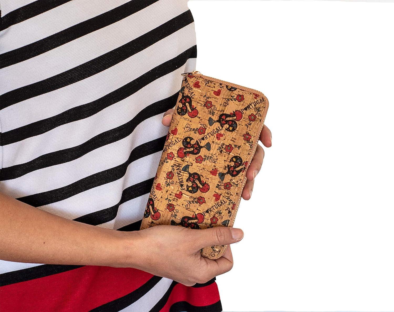 Monedero de Tela de Corcho Natural para Mujeres, (20cm x 10cm x 3cm) Chicas para Tarjetas Billetes Tamaño Granda Estampado Portugal Verano Primavera ...