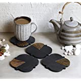 Bar Coaster Tea Coffee Mug Tabletop Barware Set of 4 Wooden Hand Carved Burnt Black Finish Foil Inlay Dining Accessories Home Decor