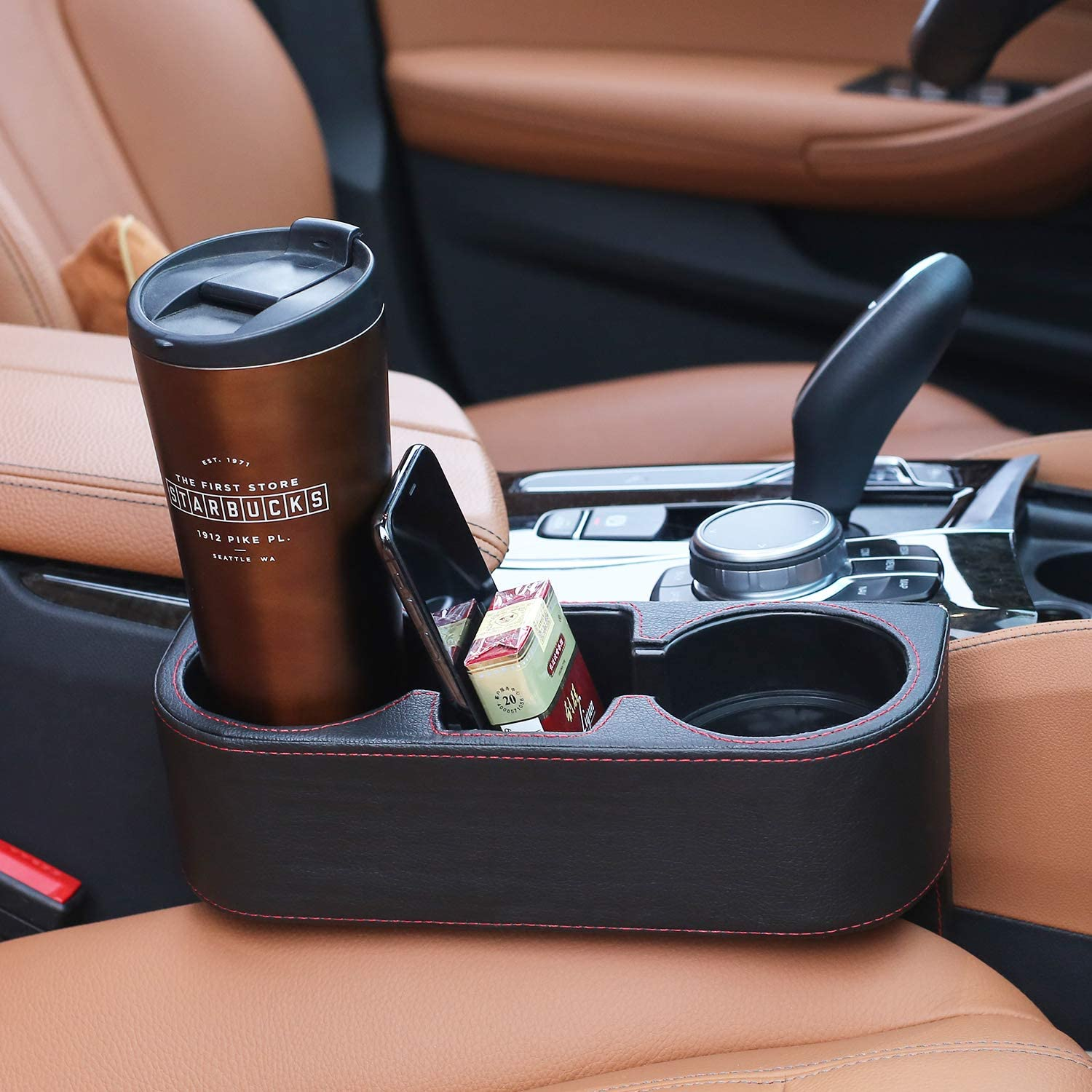 AUTODECO Multifunctional Car Cup Holder Expander PU Leather Cover with Phone Holder and Coasters for Storing and Organizing Car Drinking Cups Mug Bottle Cans Phone Key Wallet Coin etc.