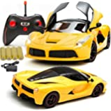 MousePotato 1:16 Sports Car with Remote Opening and Closing Doors Rechargeable Racing Car (Yellow)