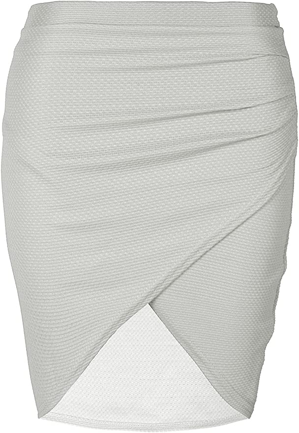 Plus Size Ladies Womens Ruched Wrap Over Side Waffle Pencil Bodycon Mini Skirt