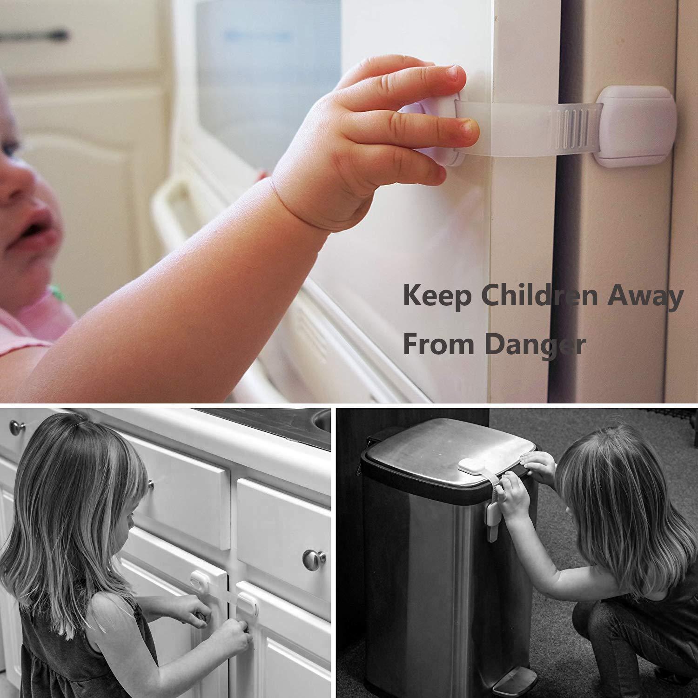 wei/ß Baby Kindersicherung Schubladensicherung 4 Extra 3M Kleber Enthalten 8 St/ück Ecke-Schl/össer Baby Sicherheitsschloss f/ür Schr/änke und Schubladen