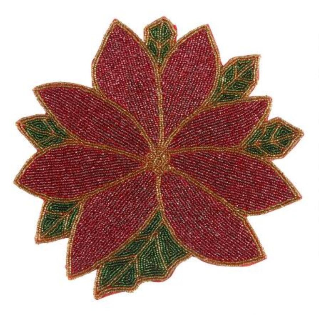 Christmas Tablescape Décor - Red and green poinsettia detailed beadwork placemats - Set of 2 by Nantucket Home