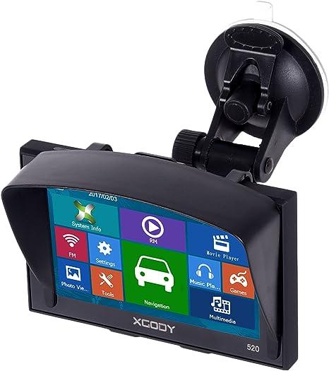 Xgody 520F Voiture Camion GPS Navigation GPS GPS 5 /Écran Tactile int/égr/é 8 Go ROM Carte /à Vie avec Pare-Soleil et navigateur de v/éhicule