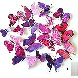 Home Decor 3D della farfalla di modo Animal Wall Sticker PVC farfalla di simulazione, 24pcs, viola