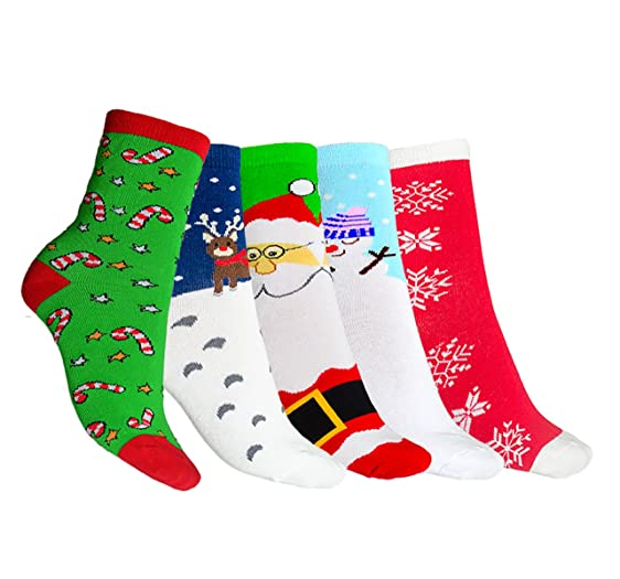 amoretu santa christmas socks stuffers ugly christmas stocking gifts for adults 5 pairs