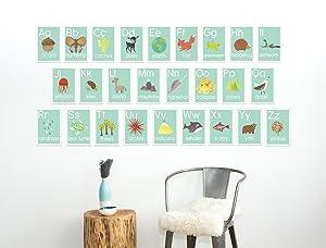 English Alphabet 5x7 Wall Cards, Our World, Nature Themed, Kid's Wall Art, Nursery Decor, Kid's Room Decor, Gender Neutral Nursery Decor