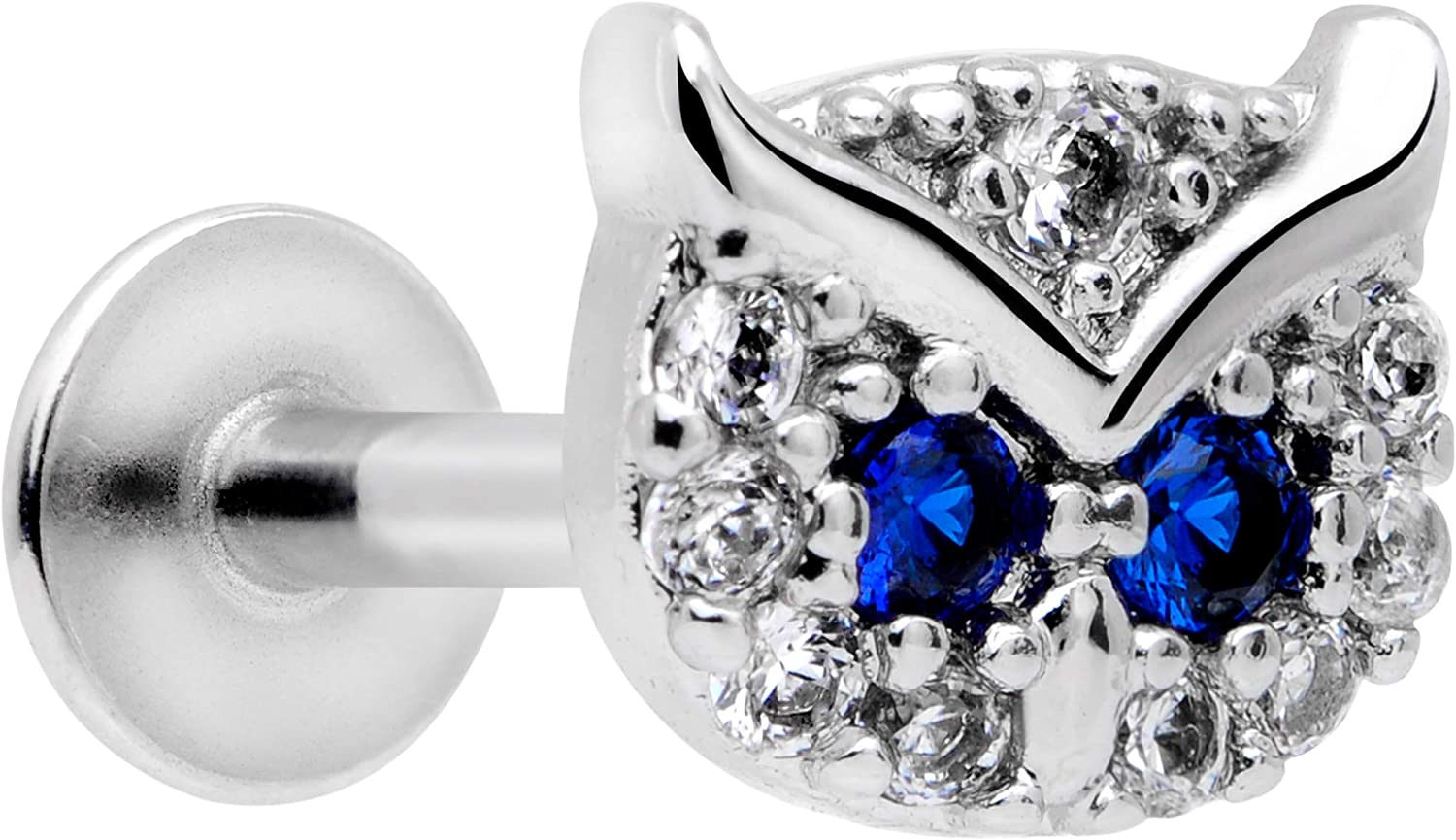 Body Candy Womens 16G Steel Clear Blue Accent Wise Owl Labret Monroe Lip Ring Tragus 8mm Cartilage Stud