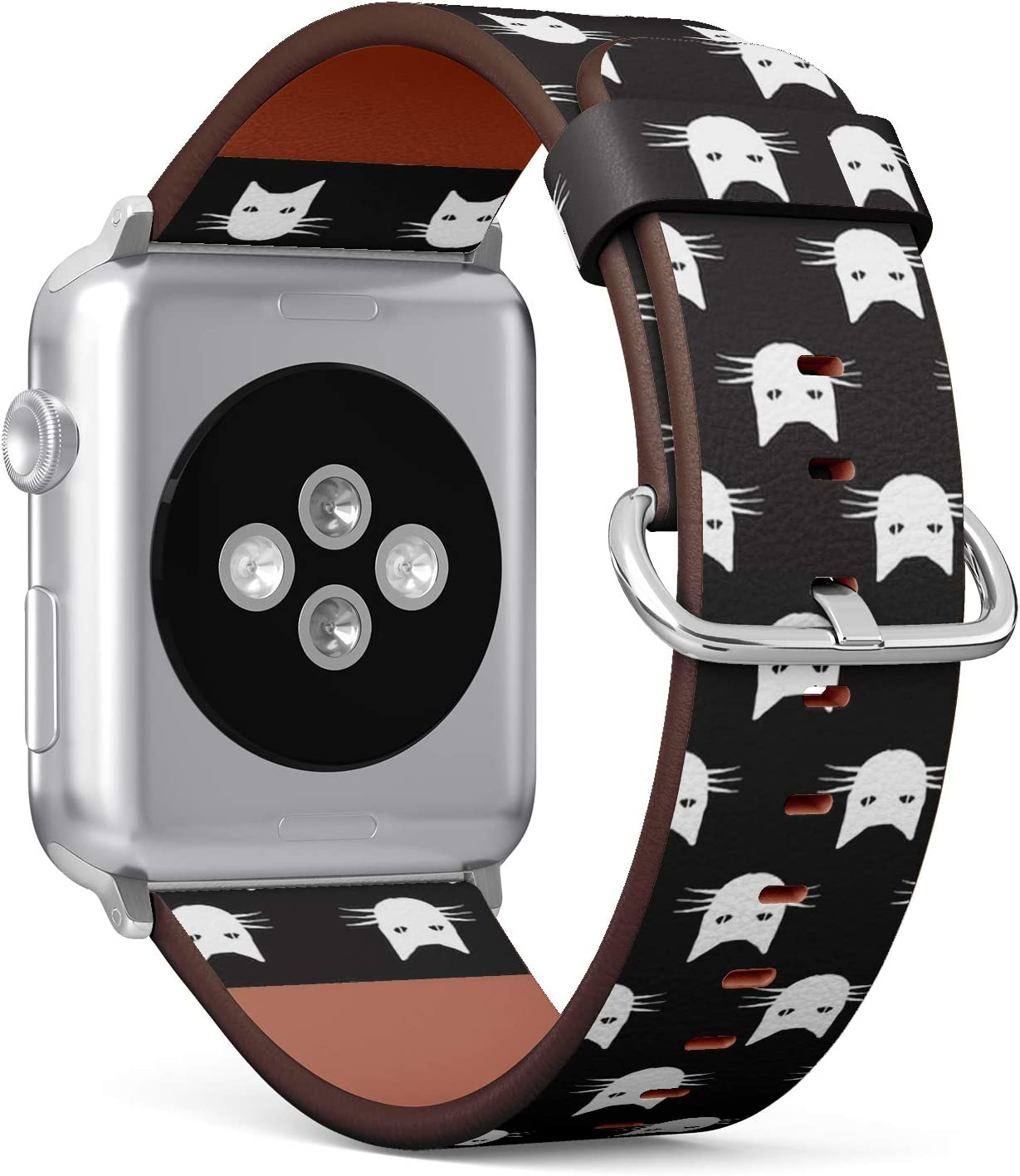 Compatible with Apple Watch (Big 42mm/44mm) Series 1,2,3,4 - Leather Band Bracelet Strap Wristband Replacement - Cats Head Animal