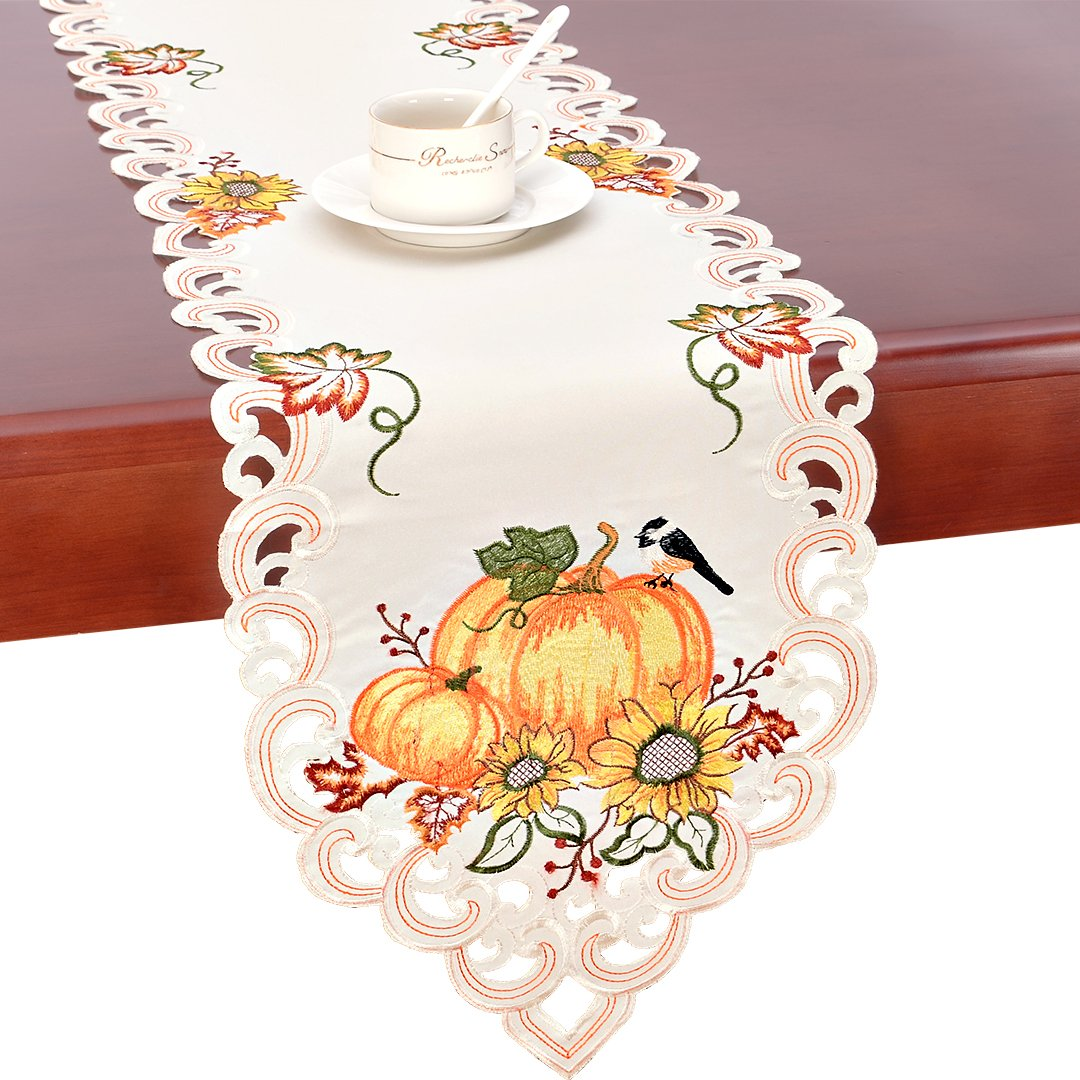 Simhomsen Thanksgiving Holiday Table Runners, Harvest Pumpkins Table Linens 13 × 68 inch