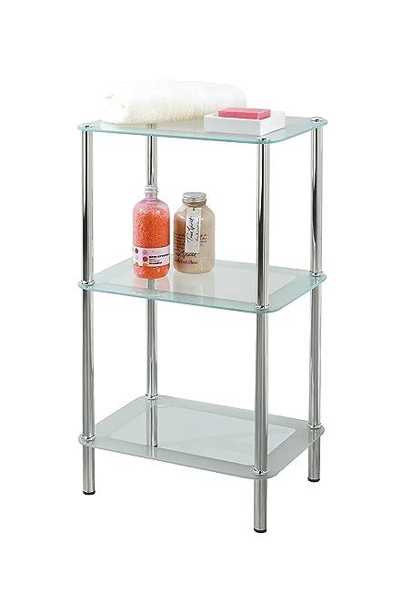 Beautiful 3 Tier Rectangular Glass Bathroom Shelf Shelving Unit Cabinet By Showerdrape