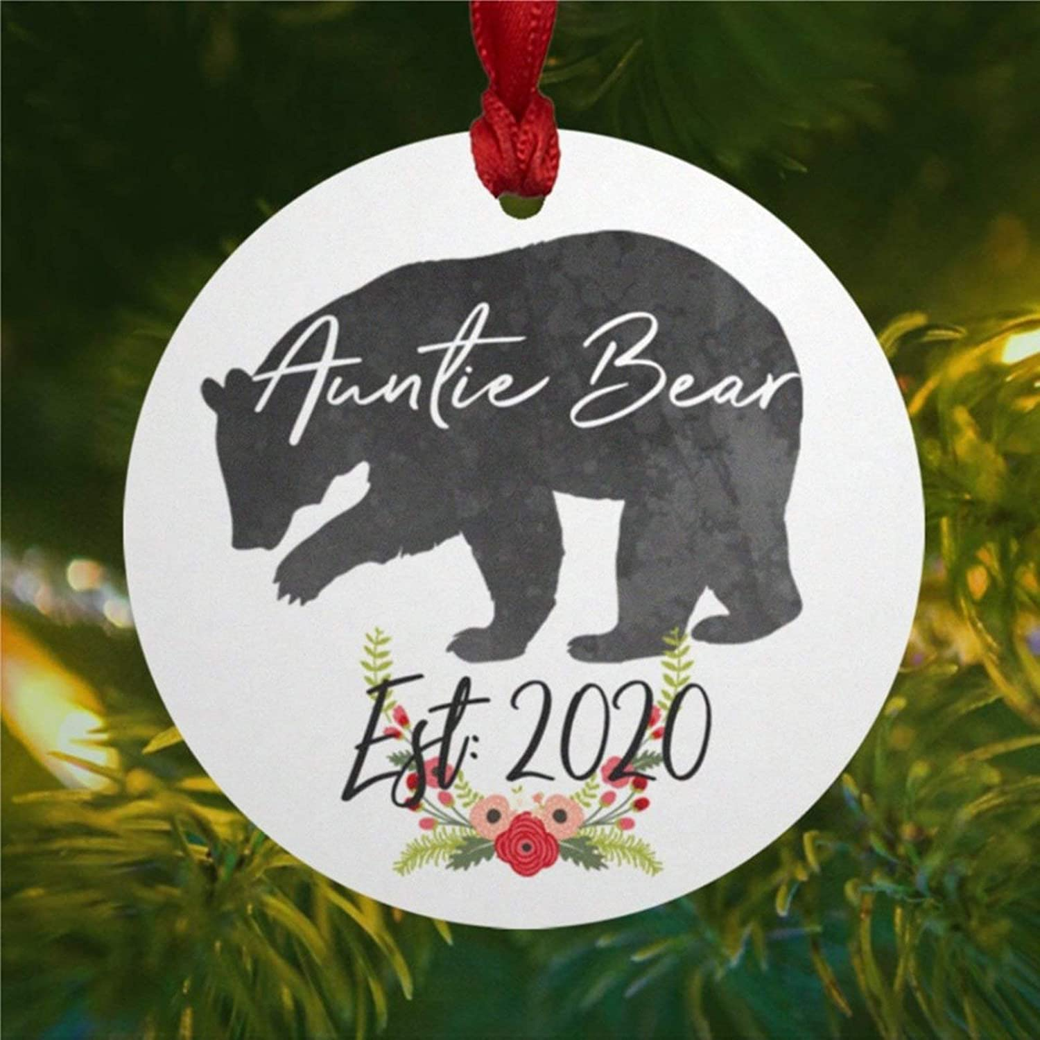 DONL9BAUER Auntie Bear Watercolor New Aunt Personalized Ceramic Art Christmas Ornament, Christmas Decorations Keepsake Present for Christmas Eve, Family,Xmas.