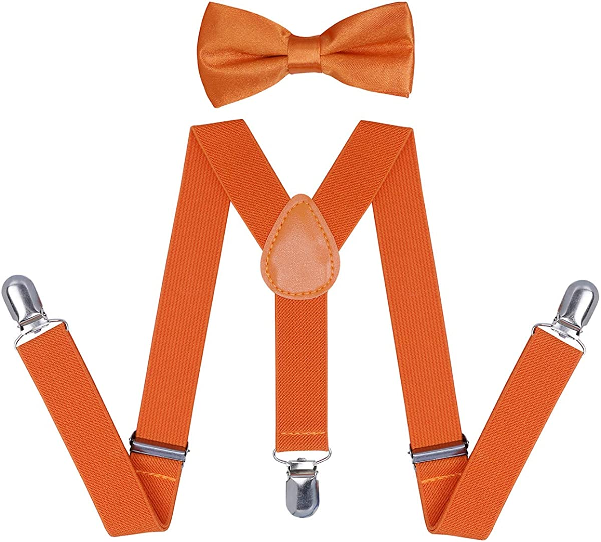 Adjustable Elastic Y-Shape Suspenders Bowtie Set with 3 Strong Clips for Show Party Children Kids Braces Bow Tie 2-Piece Set for Boys Girls