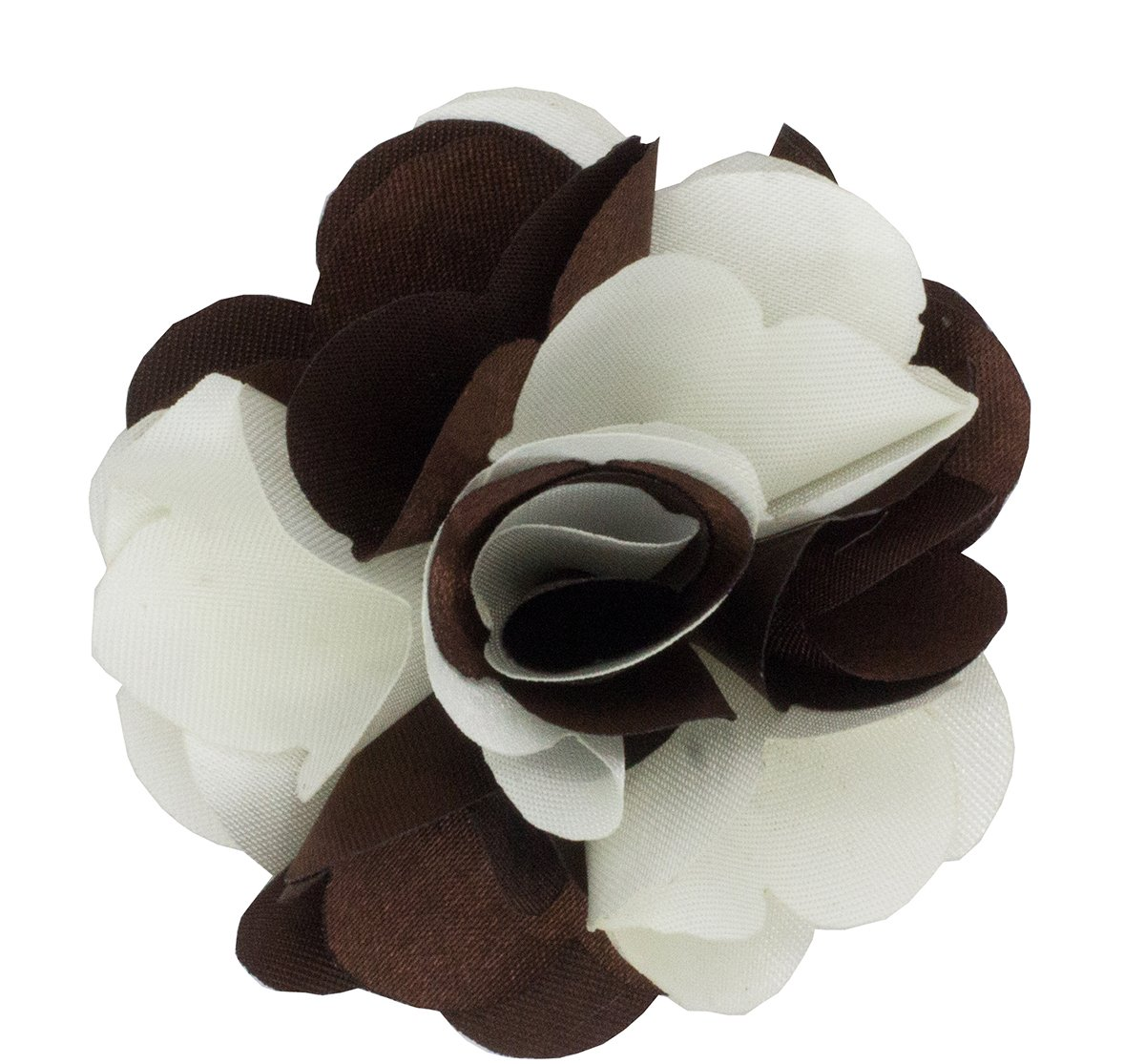 Mens Lapel Flower . Brown and White