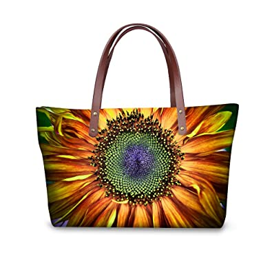 46b88daabd FOR U DESIGNS Vintage Sunflower Print Shoulder Bags for Women Casual Tote  Bag