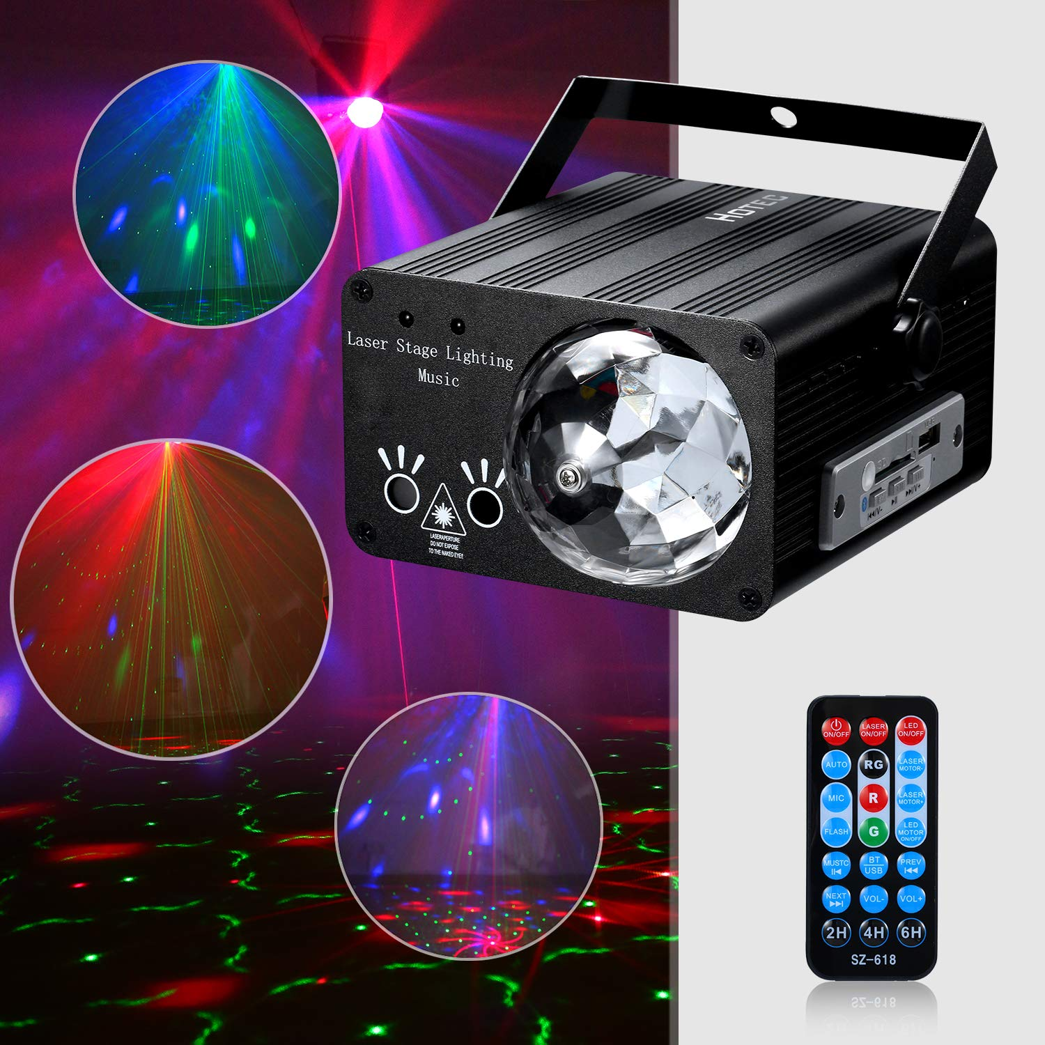 Hotec Sound Activated Disco Ball and Laser Party Lights with Bluetooth Speaker, Stage Laser and LED Lights for Xmas Club Bar KTV Holiday Dance Christmas Birthday Home Decoration by Hotec