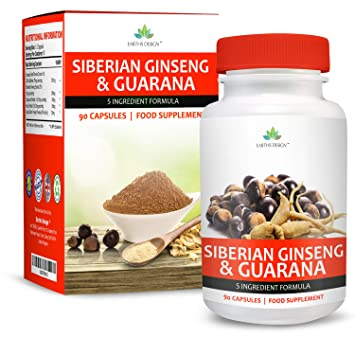 Ginseng Siberiano & Guaraná - 850mg – Alta Concentración para Aumentar la Energía – Extracto 25:1 de Ginseng 300mg | Extracto 4:1 Guaraná 300mg – Para ...