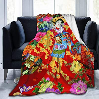 "BWWHCCTI Retro Japanese Geisha Girl Printed Blanket Throw Lightweight Super Soft Micro Fleece Throw Blankets Fit Couch Bed Living Room Sofa Chair 50""x40"": Home & Kitchen"