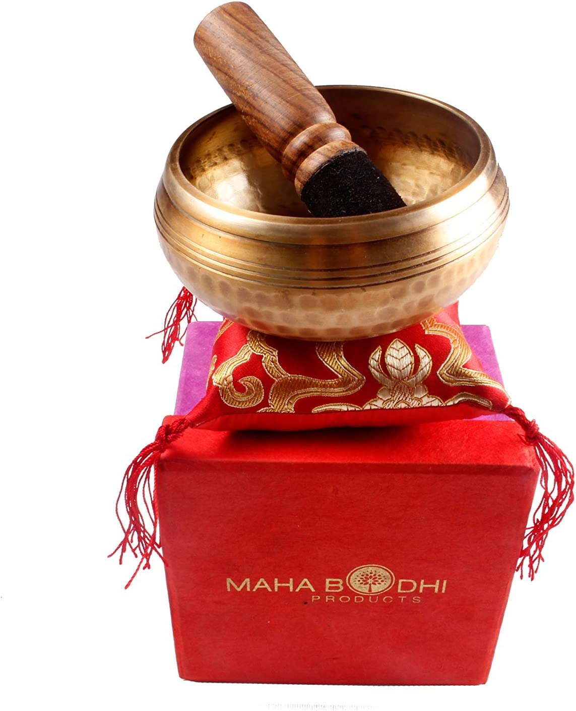 Tibetan Singing Bowl Set ~ Buddha Figure Design ~ Maha Bodhi 4 Inch Wide Authentic Meditation Gong for Relaxation and Chakra Healing ~ Completely Hand Carved ~ Perfect Gift