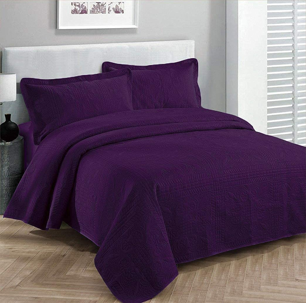 """Fancy Collection 3pc Luxury Bedspread Coverlet Embossed Bed Cover Solid Dark Purple New Over Size 100""""x 106"""" Full/queen"""