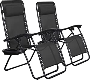 SONGMICS Zero Gravity Chairs, Set of 2 Outdoor Lounge Chairs, Patio Chaise Lounges, Reclining Comfortable Ergonomic Foldable and Lockable, with Headrest and Cup Holder, Black UGCB001B01