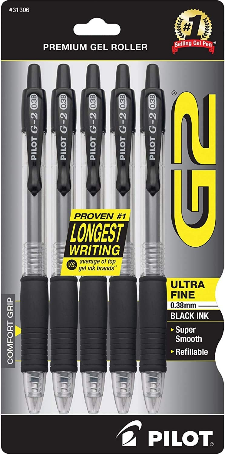 Ultra Fine Point PILOT G2 Premium Refillable /& Retractable Rolling Ball Gel Pens 5-Pack Pack of 1 Black Ink 31306