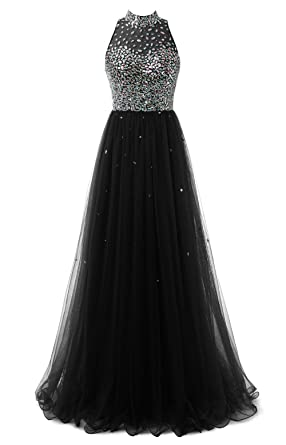 e48fd25645a Callmelady Jewel Neck Tulle Long Prom Dresses Evening Gown for Women  (Black