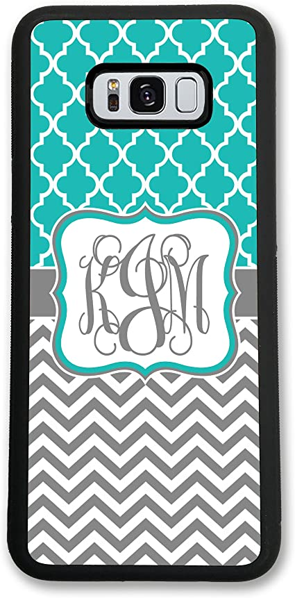 Amazon Com Samsung Galaxy S9 Plus Simply Customized Phone Case Compatible With Samsung Galaxy S9 6 2 Inch Teal Lattice Grey Chevrons Monogram Monogrammed Personalized S9p62