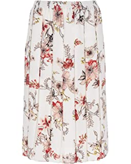 """Women/'s Pleated Skirt 27/"""" LENGTH Floral Printed POLY Fabric Elasticated Waist"""