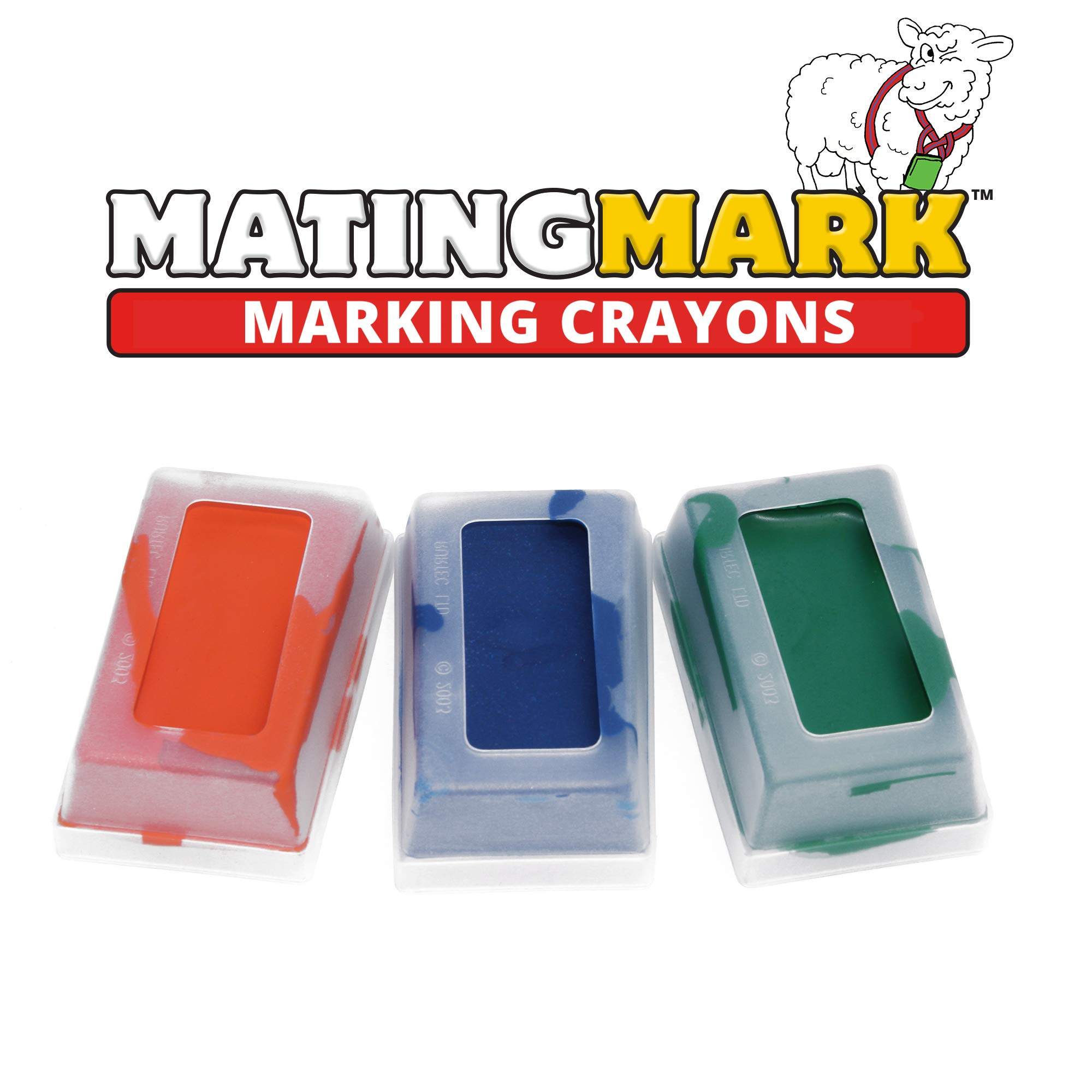 MATINGMARK Sheep & Goat Mating Crayon Block Marker for Ram Breeding/Marking Harness by Rurtec, 3 Pack (MILD Temperature) Orange, Blue, Green, Made in New Zealand