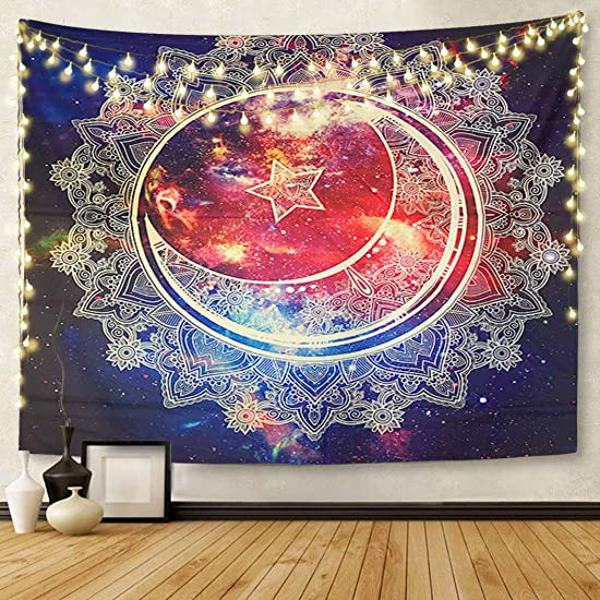 Britimes Tapestry Wall Hanging Galaxy Psychedelic Mandala Bohemian Hippie Moon Star Tapestry for Bedroom Living Room Dorm Decor Home Decoration Art