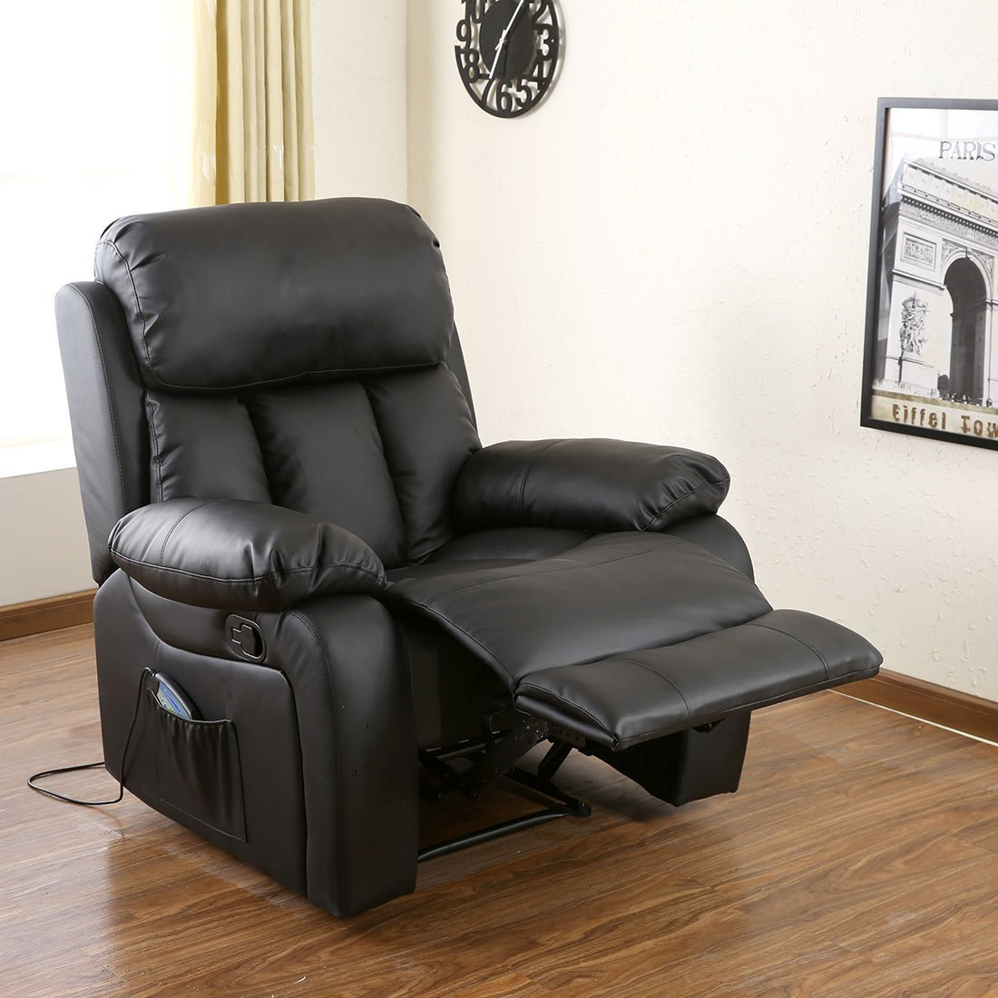 More4Homes (tm) CHESTER HEATED MASSAGE RECLINER BONDED LEATHER CHAIR SOFA  LOUNGE GAMING HOME ARMCHAIR (Black): Amazon.co.uk: Kitchen U0026 Home