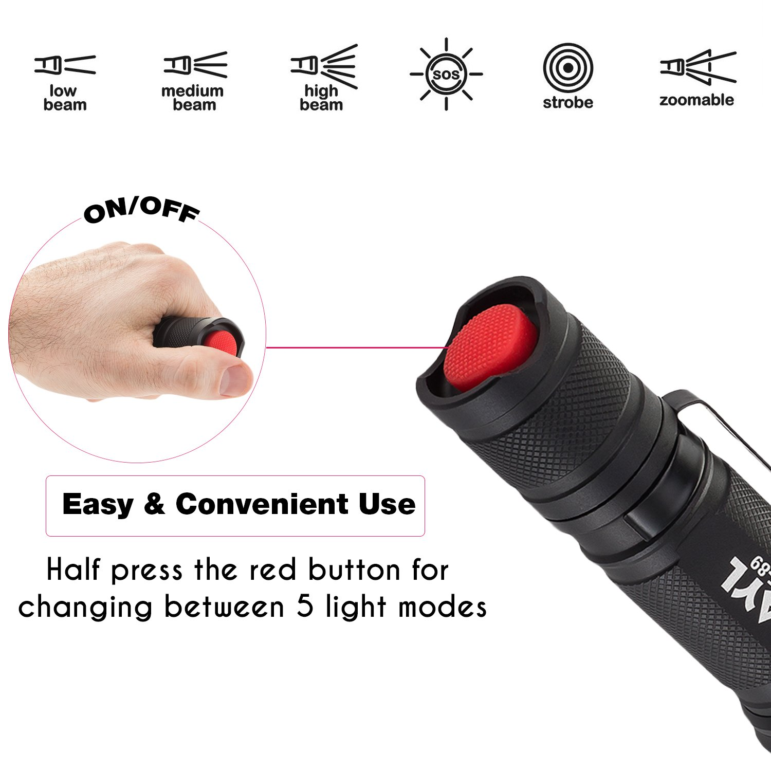 AYL LED Flashlight Tactical Flashlight - [2 Pack] 1000 High Lumens CREE Torch Light, Ultra Bright Emergency Handheld Flashlights by AYL (Image #4)