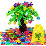 EMIDO Building Blocks Kids Educational Toys STEM Toys Building Discs Sets Interlocking Solid Plastic for Preschool Kids Boys and Girls, Safe Material for Kids - 500 pieces with Storage Bag