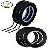 OKILA Graphic Chart Art Tape - [6 Pieces] [Width 0.12 in] Grid Marking Tape, Whiteboard Gridding Tape, Self Adhesive Artist Tapes - Each Roll Length is 108 ft (Black)