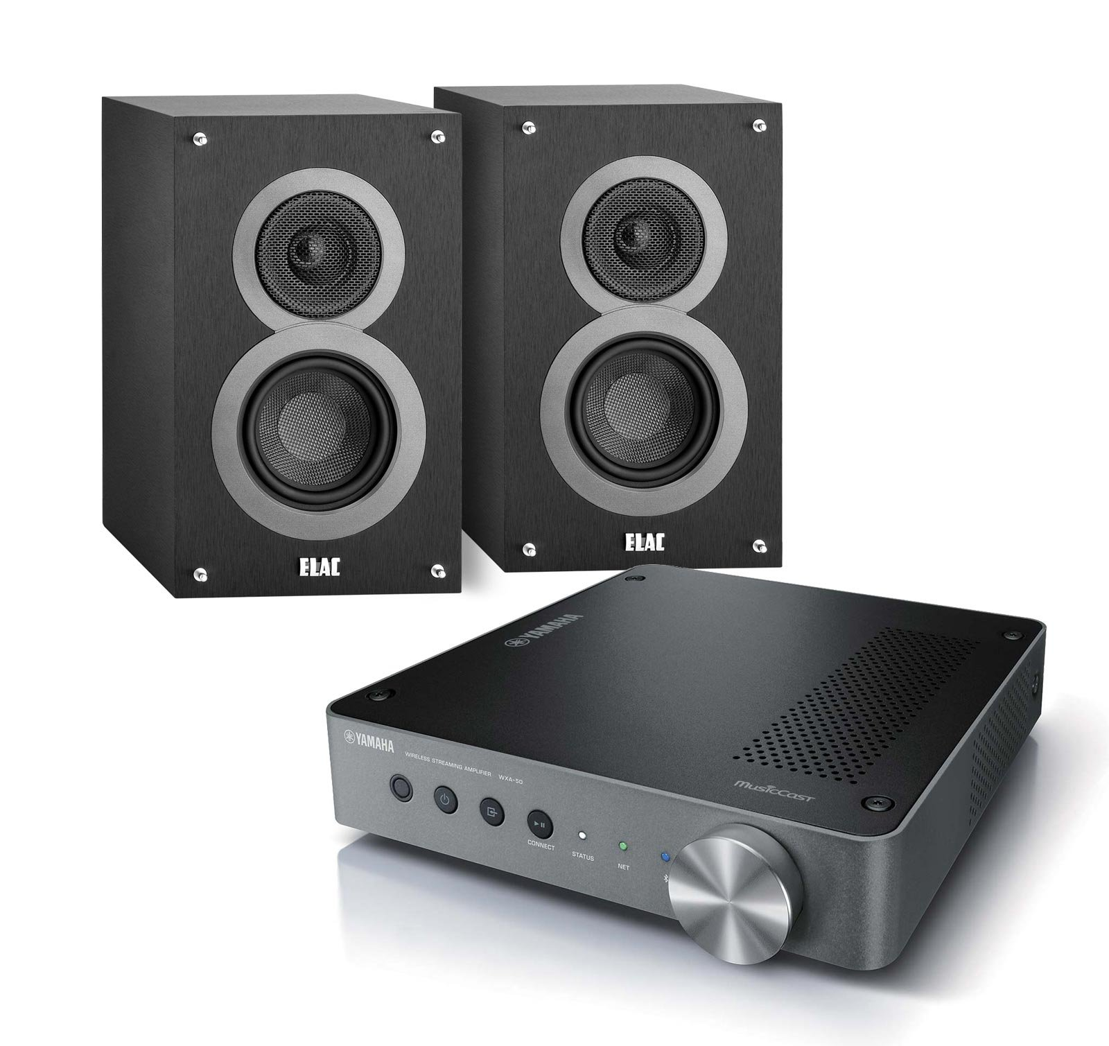 Yamaha MusicCast WXA-50 Audio Component Amplifier (Dark Silver) with ELAC Debut B4 2-Way Bookshelf Speakers, Pair (Black)