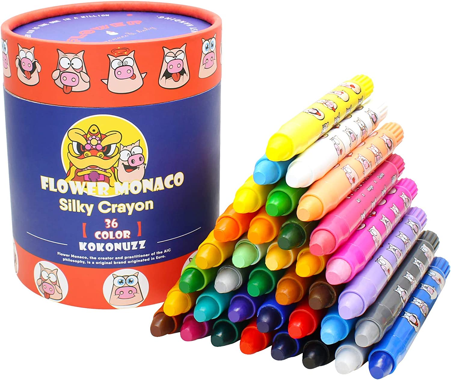 Non Toxic Silky Colourful Twistable Crayons Set Easy to Hold 12 Colors Large Crayons Safe for Babies and Children Flower Monaco DIY Drawing OUTFANDIA Toddler Crayons for Kids