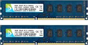 DUOMEIQI RAM 8GB Kit (2X 4GB) 2RX8 DDR3 1600MHz UDIMM PC3-12800 PC3-12800U CL11 1.5v (240 PIN) Non-ECC Unbuffered Desktop Memory RAM Module for Intel AMD System