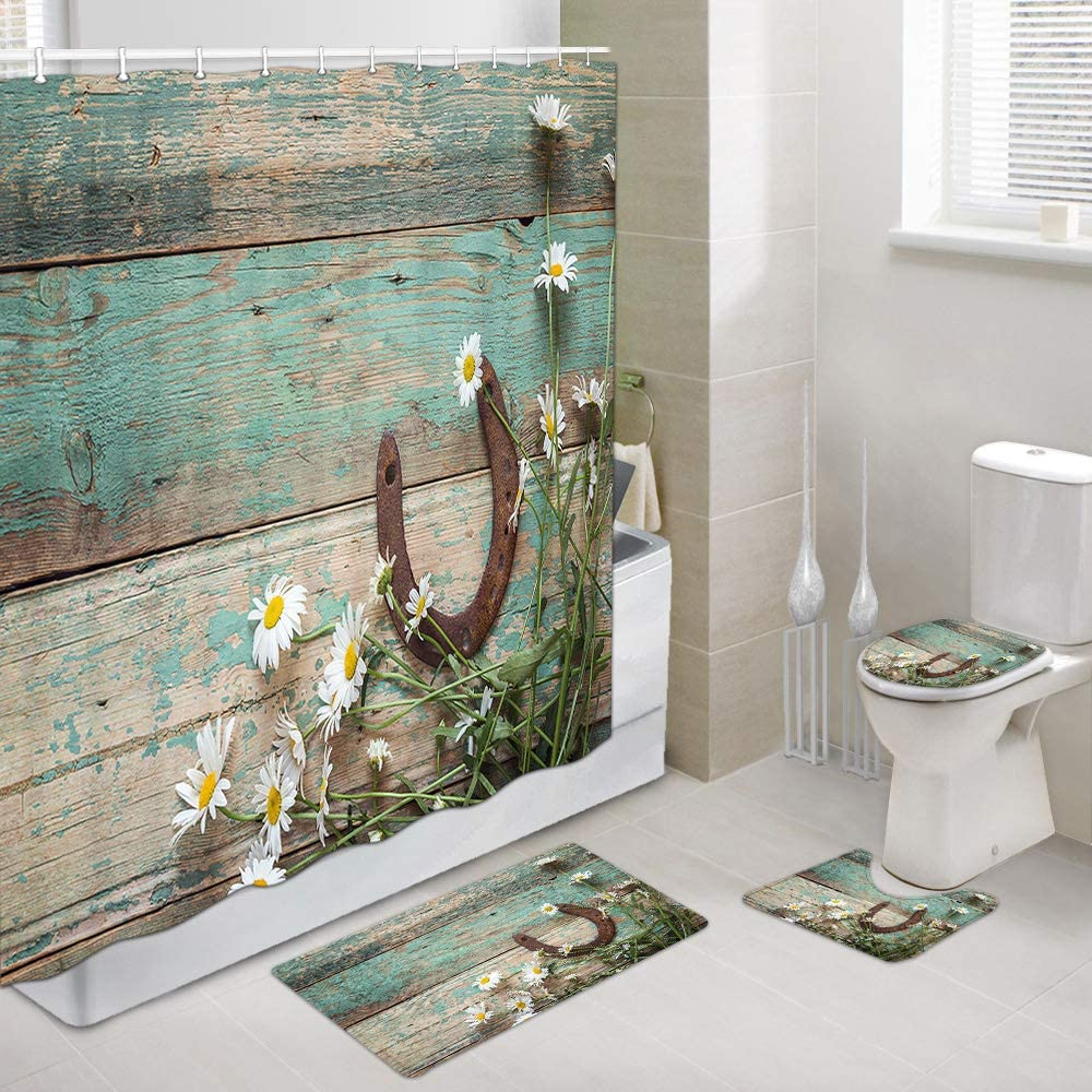 Horseshoe Shower Curtains with Rug Set, Rusty Horseshoe and Daisies on Rustic Old Barn Wood Bathroom Decor, 4 Piece Set-Shower Curtain Sets with Non-Slip Rug, Toilet Lid Cover, Bath Mat and 12 Hooks