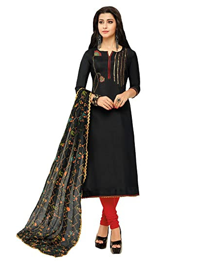 86acfd3a34 Akhilam Womens Chanderi Cotton Dress Material(Salwar Suit Sets For Women  Readymade 900_Black_Free Size)